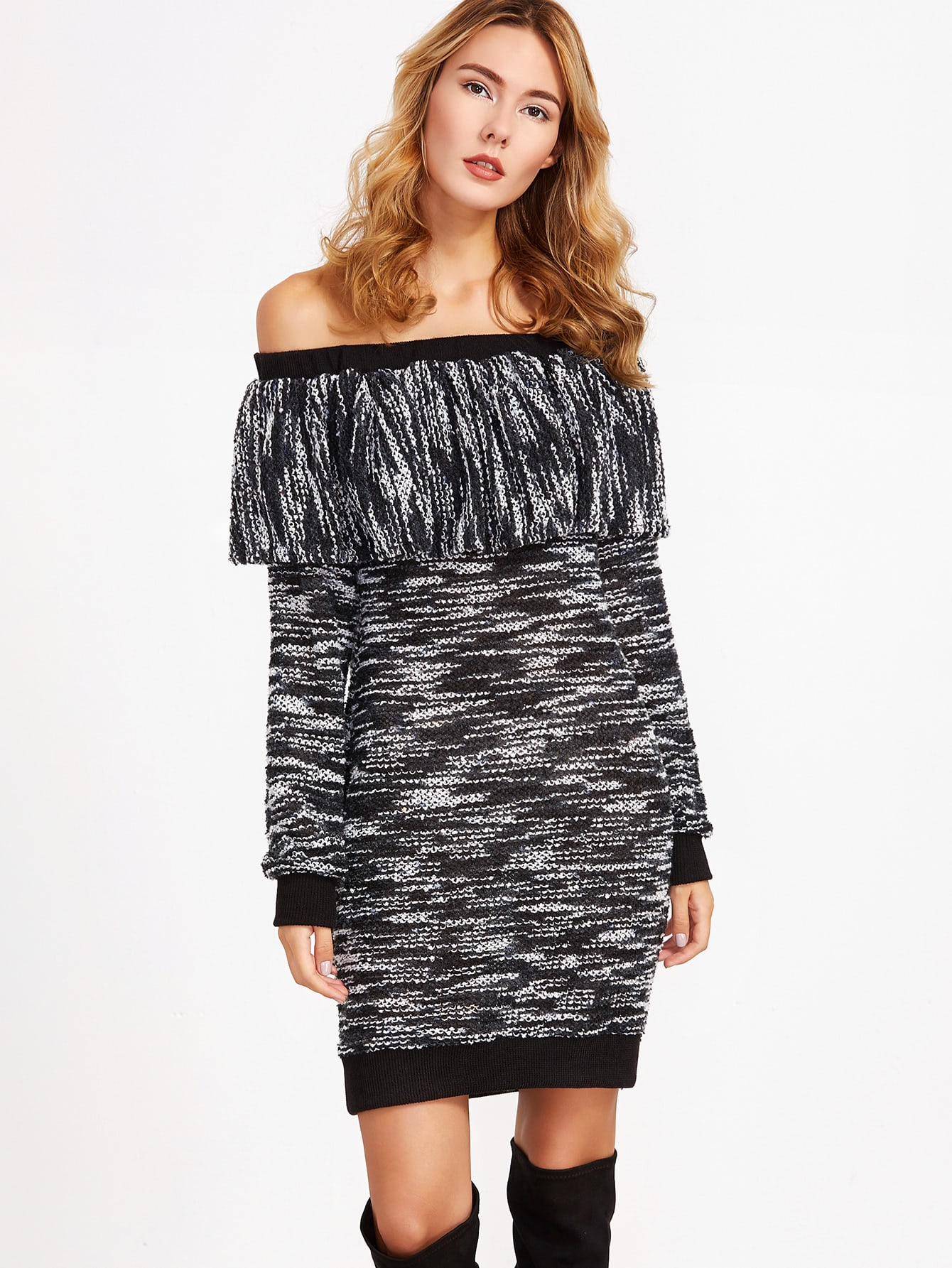 Black Marled Knit Ruffle Off The Shoulder Sweater Dress bar iii new black white women s xl marled open knit scoop neck sweater $79 439
