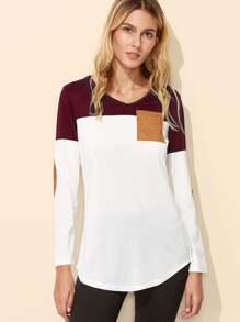 Color Block Eblow Patch Curved Hem T-shirt
