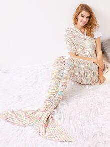 Manta de sirena de croché hueca - multicolor