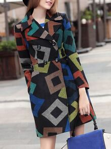 Black Color Block Lapel Pockets Coat
