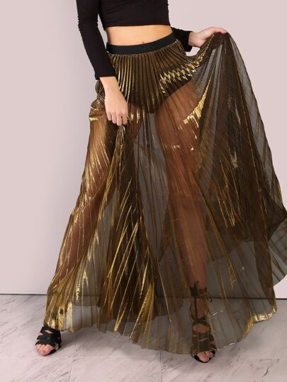 sheer metallic pleated maxi skirt gold shein sheinside