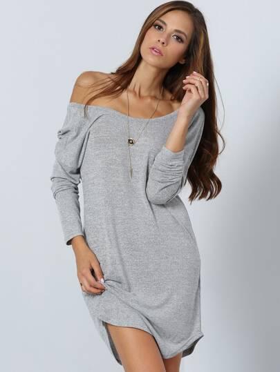 Vestito maniche lunghe scollo a V grigio