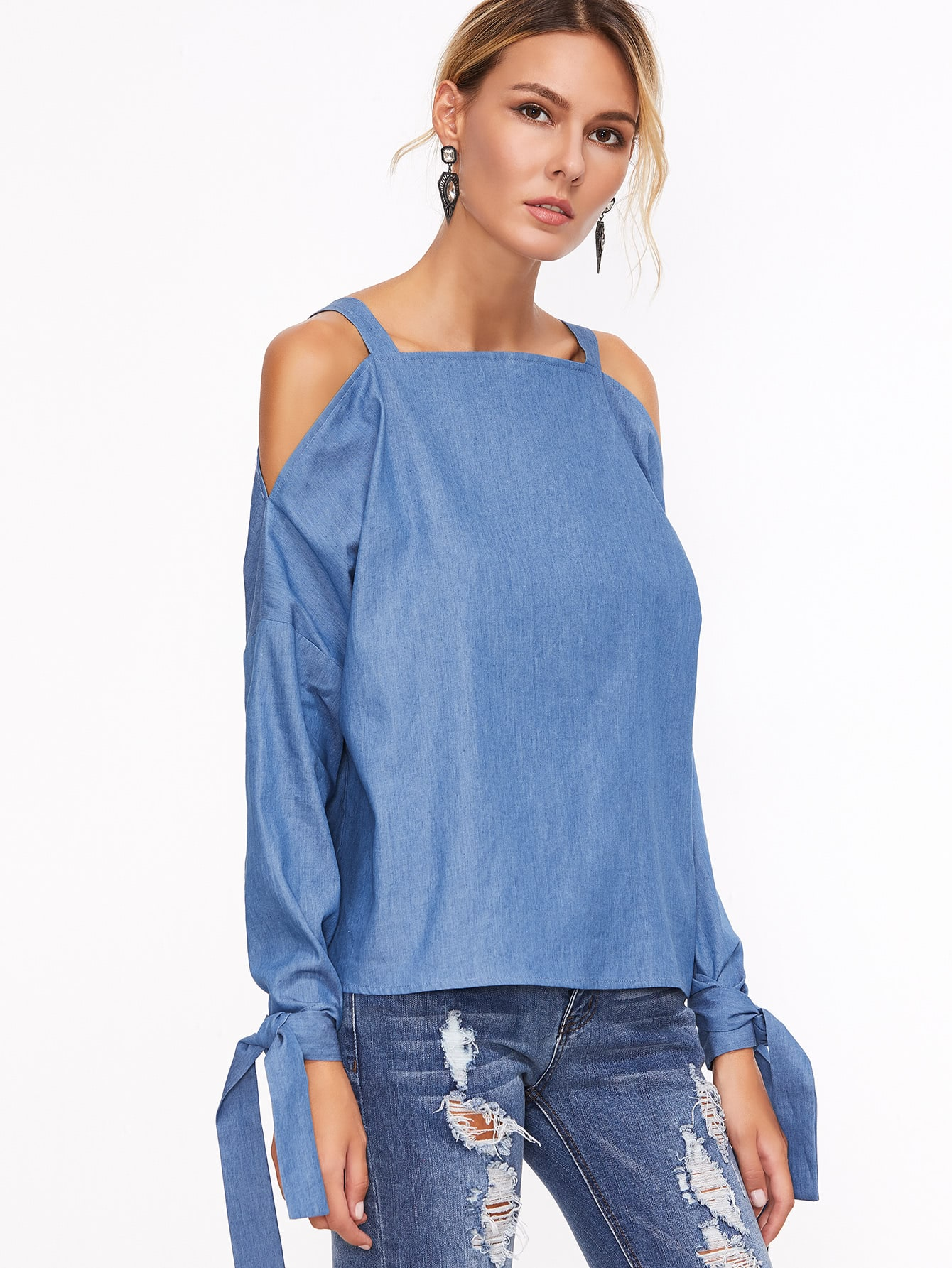Blue cold shoulder tie sleeve chambray top shein sheinside for Chambray top