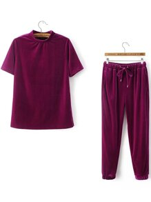 Red Short Sleeve Velvet Tee With Drawstring Pants