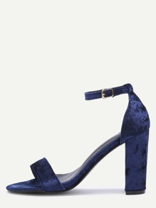 Navy Velvet Peep Toe High Heel Mary Jane Shoes