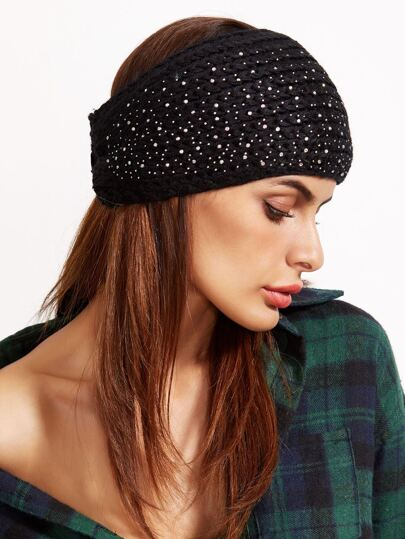 Black Rhinestone Studded Knit Ear Warmer Headband