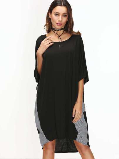 Black Contrast Striped Dolman Sleeve Dip Hem Dress