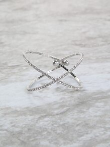 Bejeweled Criss Cross Bangle SILVER