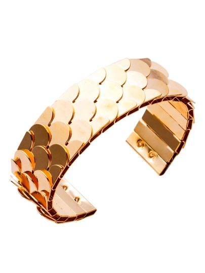 Gold Plated Fish Scale Open Wrap Cuff