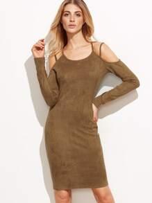 Brown Cold Shoulder Long Sleeve Pencil Dress