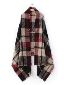 Red And Black Plaid Fringe Edge Shawl Scarf