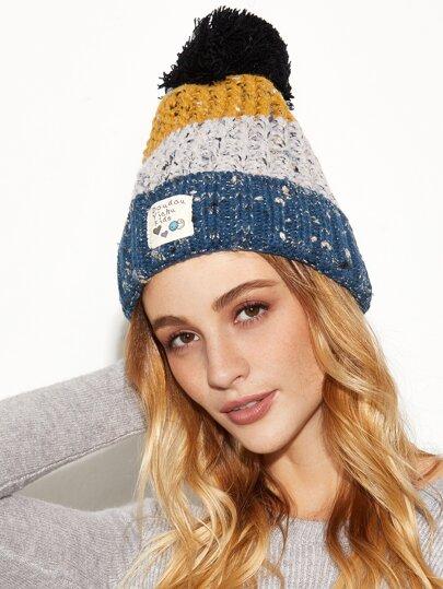 Blue Colorblock Marled Pom Pom Applique Knit Hat