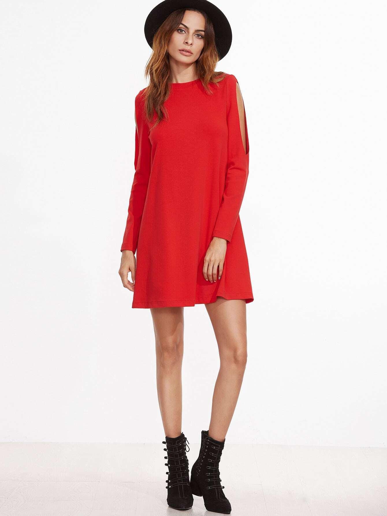 Red Crew Neck Cut Out Long Sleeve Shift Dress -SheIn(Sheinside)