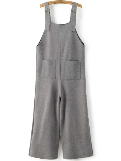Grey Front Pocket Knit Overall Pants