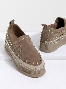 Khaki Stud Trim Nubuck Leather Platform Shoes