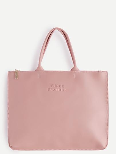 Oversized Pink PU Plain Tote Bag