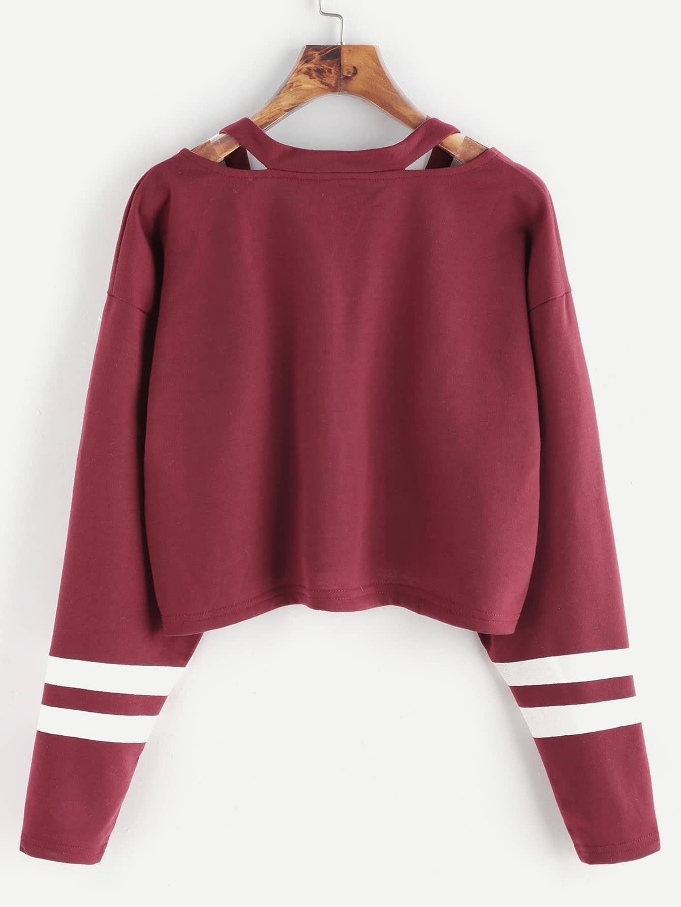 burgundy cut out neck varsity striped crop t shirt shein