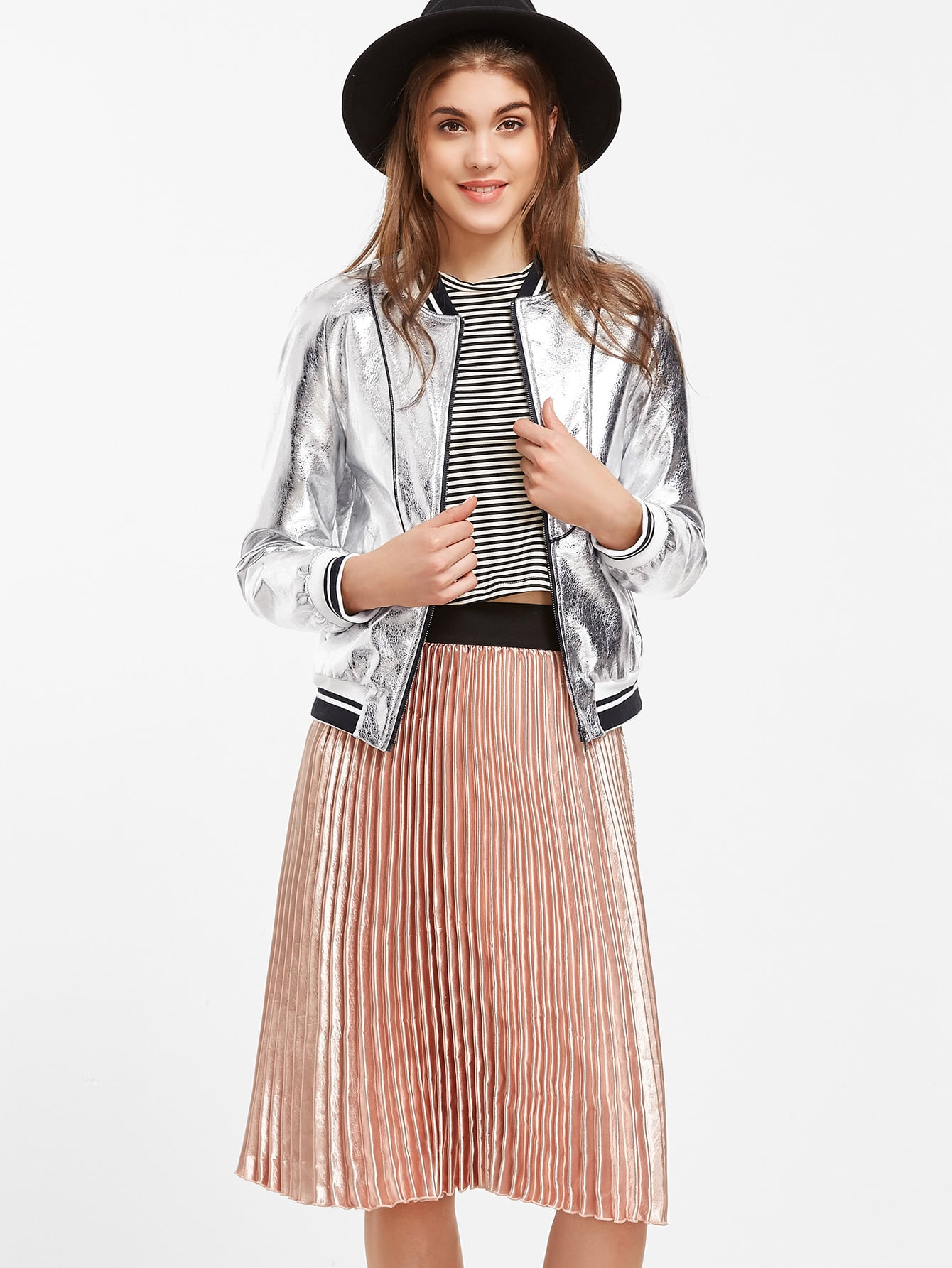 Metallic Silver Faux Leather Striped Trim Bomber Jacket jacket161010702