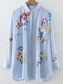 Blue Vertical Striped Printed Dip Hem Blouse With Pocket