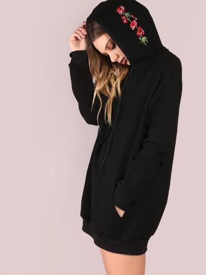 Black Pocket Front Embroidered Hood Sweatshirt