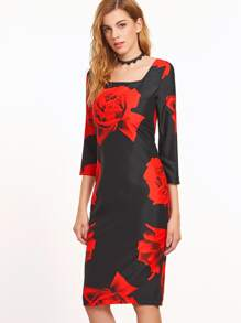 Black Rose Print Square Neck Zipper Back Sheath Dress