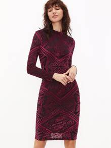 Burgundy Vintage Print Slit Back Pencil Dress