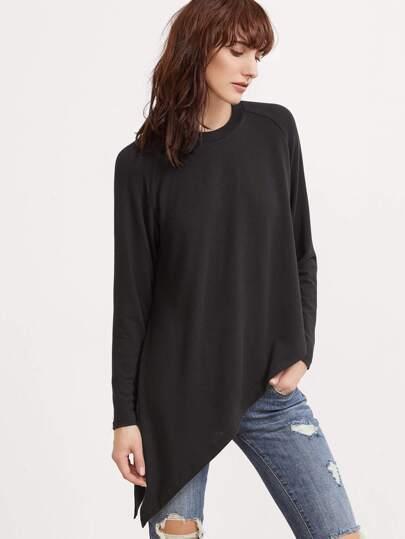 Asymmetrische T-shirt Raglan Ärmel-schwarz