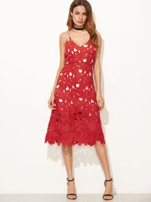 Red Hollow Out Embroidered Lace Cami Dress