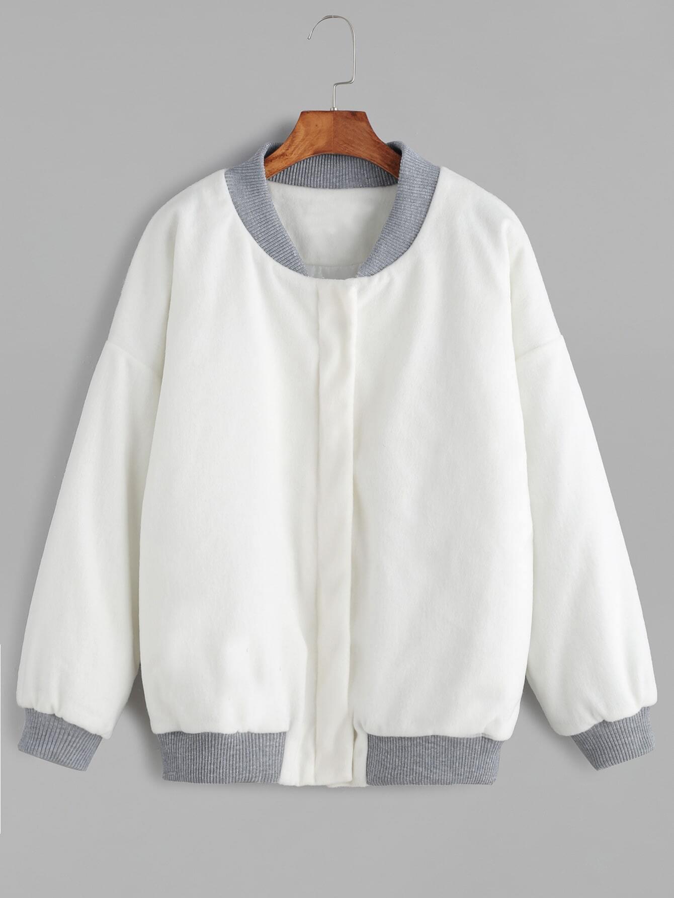 Contrast Ribbed Trim Drop Shoulder Jacket jacket161103101