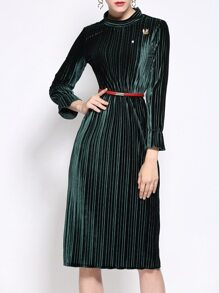 Dark Green Velvet Belted Pleated Sheath Dress