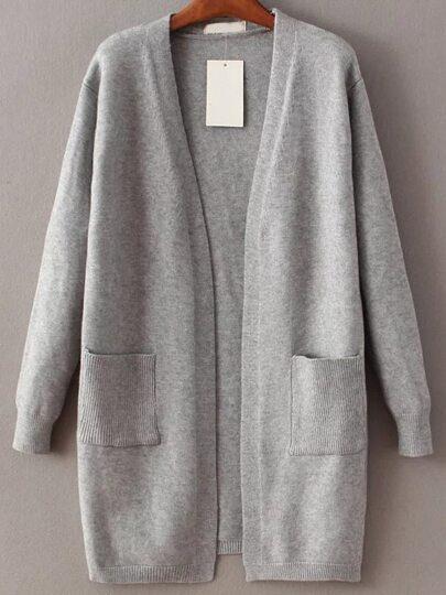 Grey Open Front Long Cardigan With Pocket -SheIn(Sheinside)