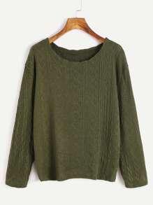 Jersey de manga larga con textura - verde militar