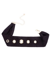 Black Ribbon Circle Hollow Out Choker Necklace