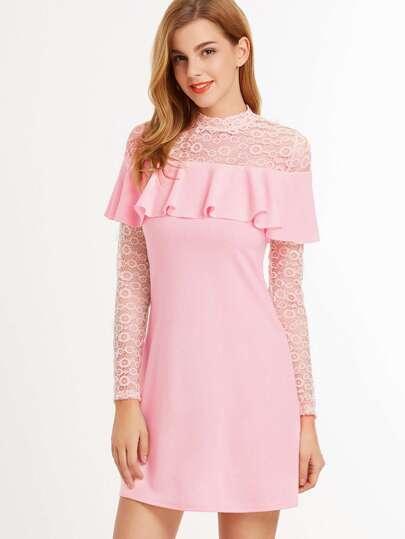 Pink Embroidered Lace Yoke And Sleeve Ruffle Dress