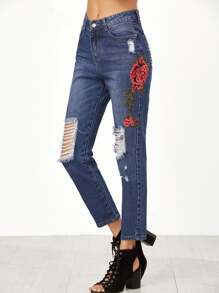 Embroidered Rose Applique Distressed Jeans