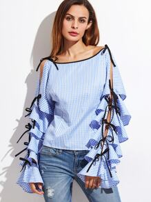 Striped Bow Tie Split Ruffle Sleeve Blouse