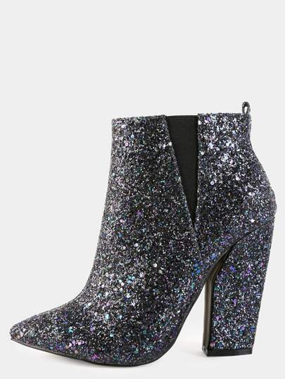 Glitter Pointy Toe Boots BLACK