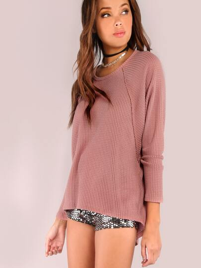 Long Sleeve Knit High Low Flow Top MAUVE