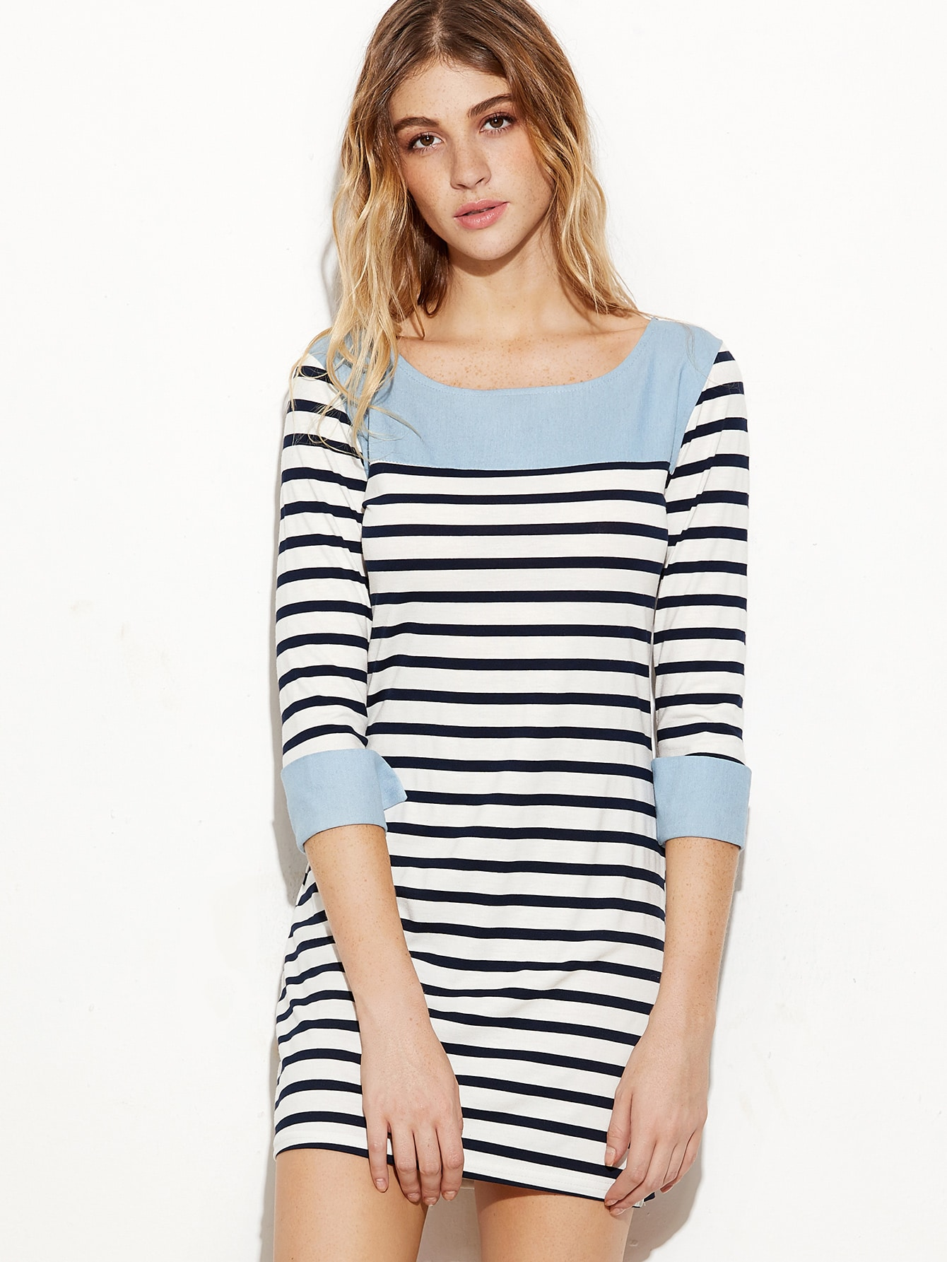 Contrast Trim Striped Cuffed Sheath Dress dress161110101
