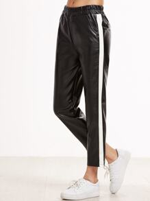 Black Striped Side Faux Leather Pants