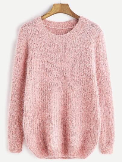 Pink Drop Shoulder Fuzzy Sweater