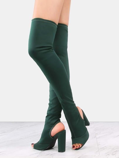 Heel Cut Out Thigh High Boots GREEN