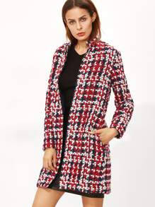 Multicolor Stand Collar Open Front Tweed Coat