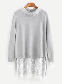 Grey Contrast Lace Trim 2 In 1 High Low Sweater