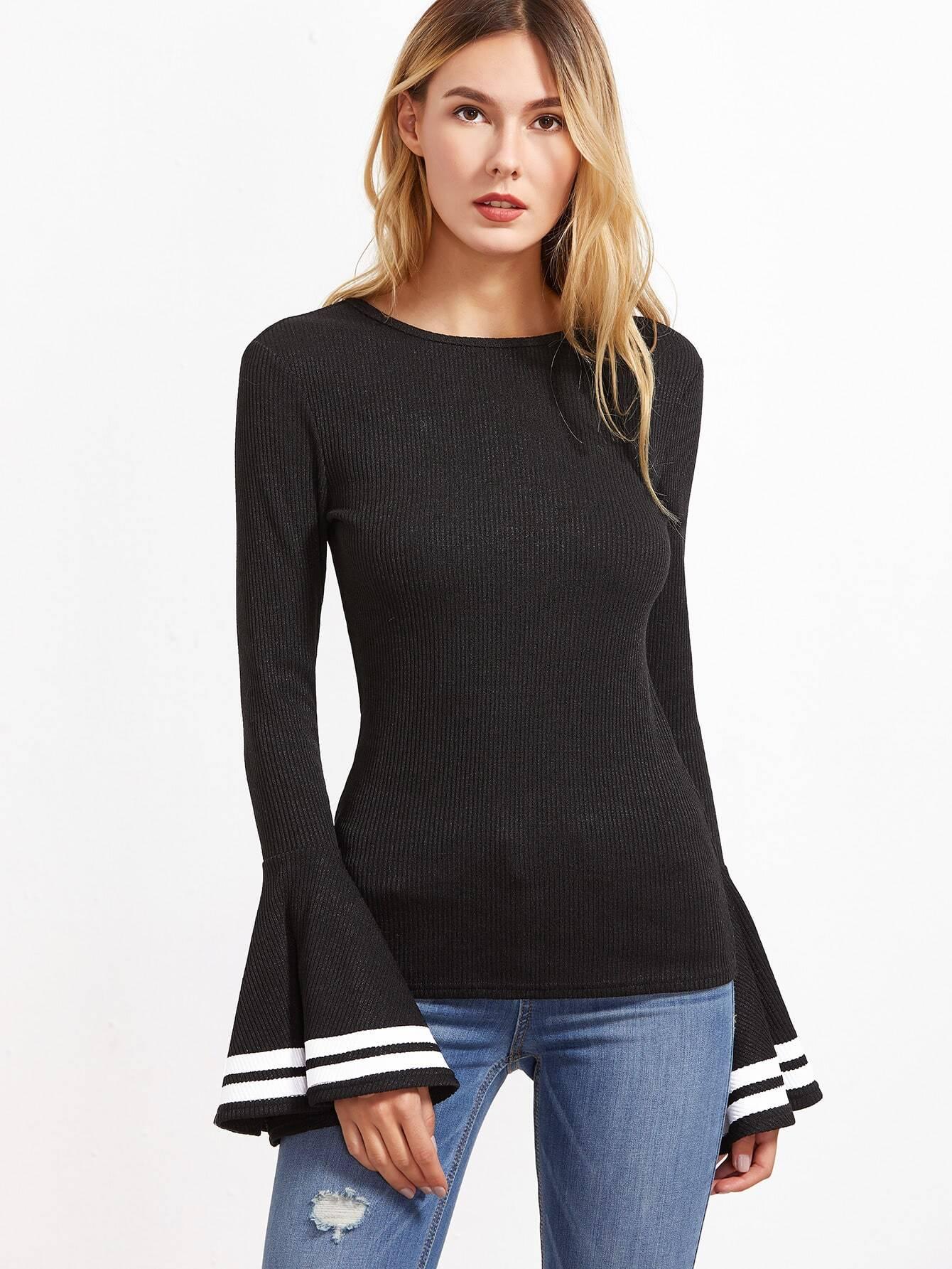 Black Striped Bell Sleeve Ribbed T Shirt Shein Sheinside