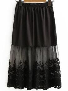 Black Lace Insert Midi Skirt