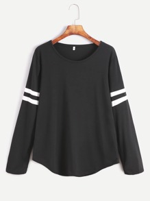 Black Varsity Striped Long Sleeve T-shirt