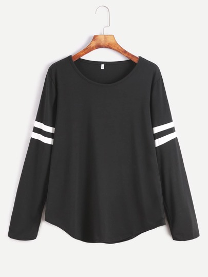 Varsity Striped Curved Hem Tshirt