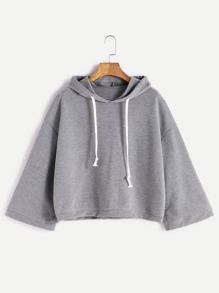 Grey Hooded Drop Shoulder Loose Sweatshirt