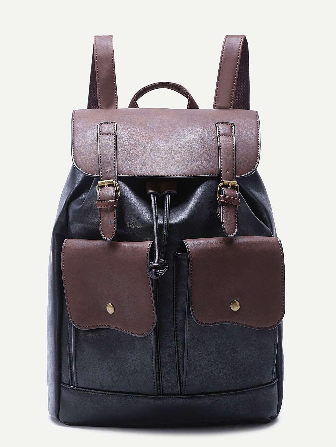Black Double Pocket Buckled Drawstring PU BackpackBlack Double Pocket Buckled Drawstring PU Backpack<br><br>color: Black<br>size: None